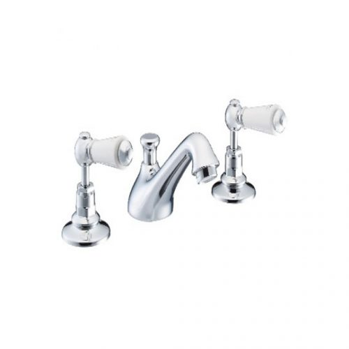 St James London Lever White 3 Hole Basin Mixer SJ400CPLL