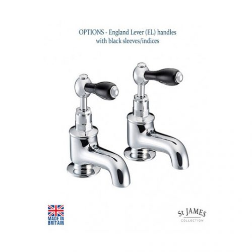 St James London Black Lever Bath Tap SJ110CPLLBK
