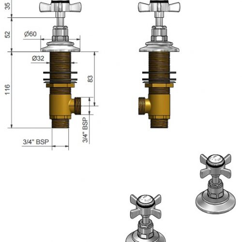 St James Deck Mounted Bath Valves SJ600CPLHSD