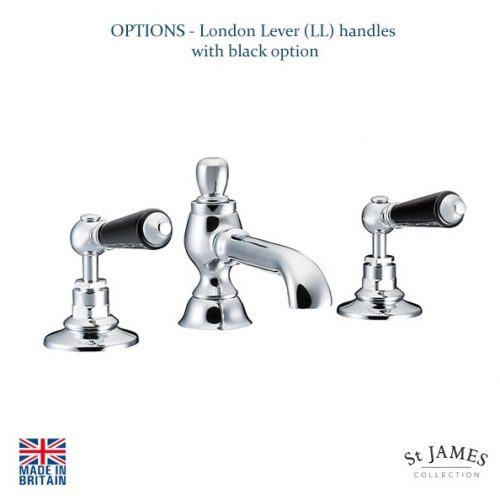 St James London Lever Black 3 Hole Basin Mixer SJ402CPLLBK