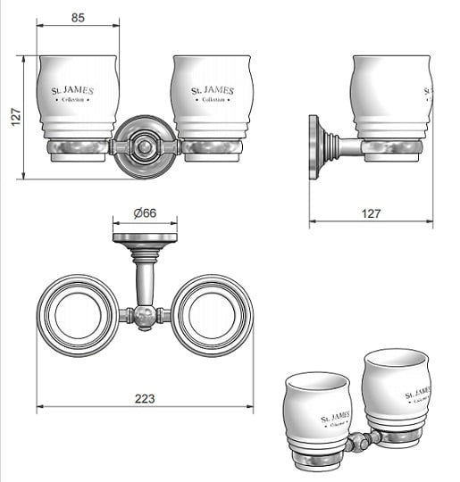 St James Double Tumbler And Holder SJ626CPPS