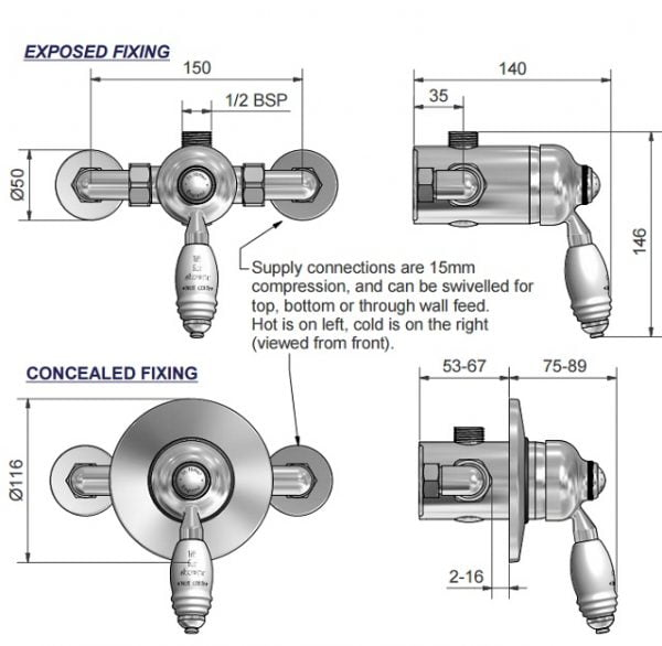 St James Exposed or Concealed Manual Shower Valve SJ720CPLL-3571