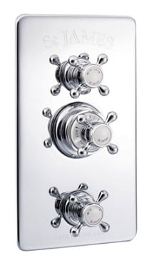 St James Concealed Thermostatic Shower Valve With Integral Flow Valves SJ7700CPLH