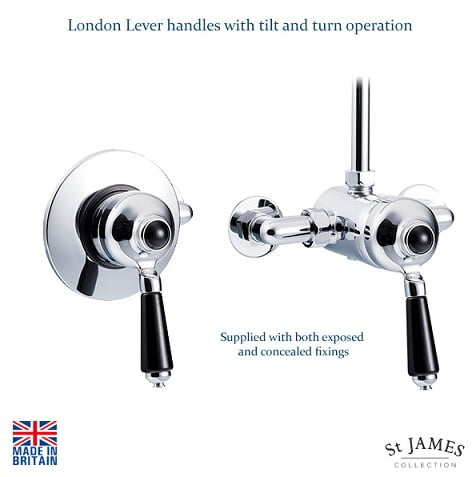 St James Exposed or Concealed Manual Shower Valve SJ720CPLLBK