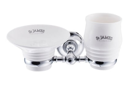 St James Soap Dish Tumbler And Holder SJ625CPMS