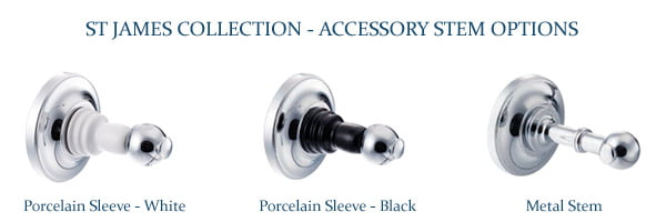 St James Robe Hook With White Stem SJ611CPPS