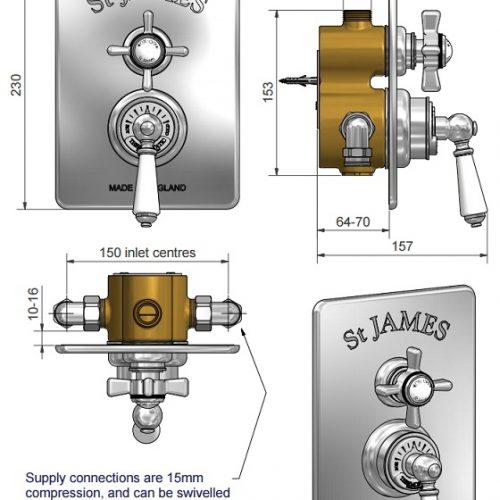 St James Thermostatic Concealed Shower Valve SJ7600CPEHHL
