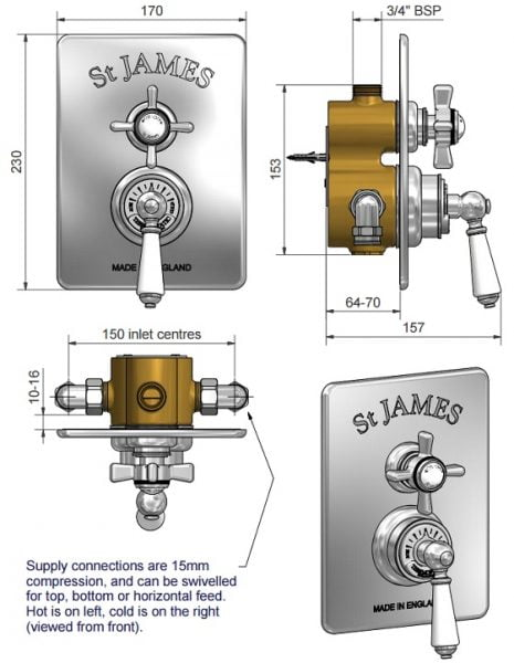 St James Thermostatic Concealed Shower Valve SJ7600CPLL