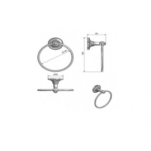 St James Towel Ring White Porcelain Stem SJ602CPPS