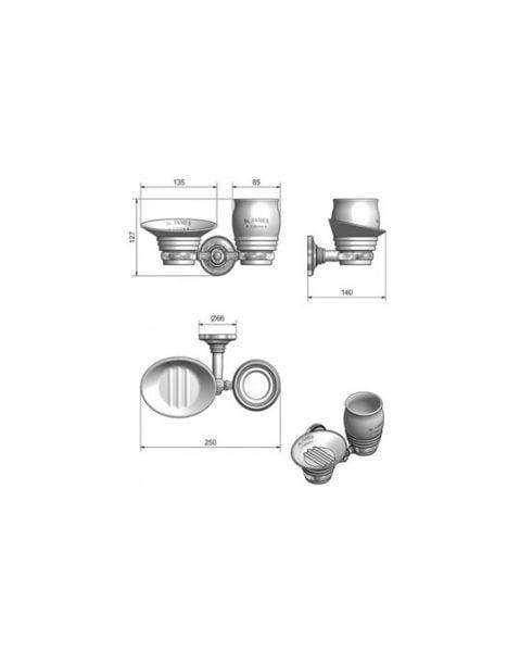 St James Porcelain Soap Dish Tumbler And Holder SJ625CPPS