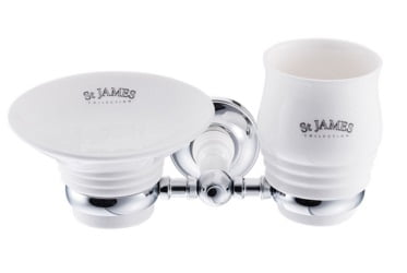 St James Porcelain Soap Dish Tumbler And Holder SJ625CPPS