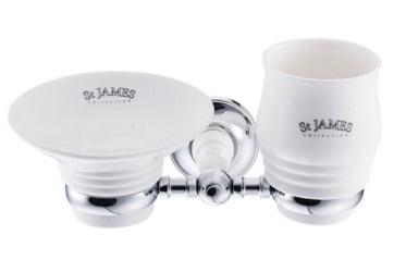 St James Porcelain Soap Dish Tumbler And Holder SJ625CPPSB