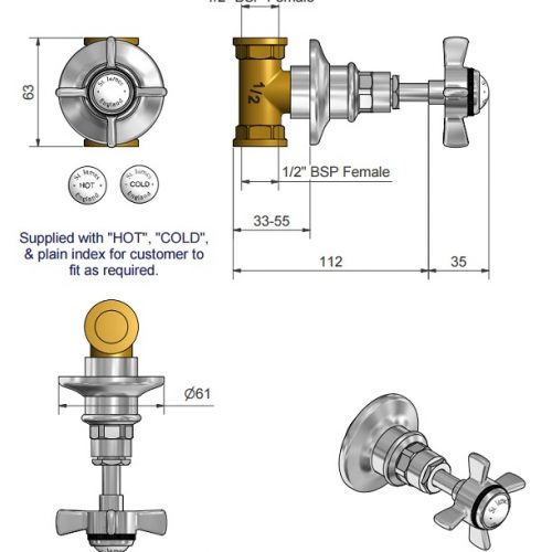 St James 1/2″ Concealed Flow Valve With Handle SJ780CPLHSD