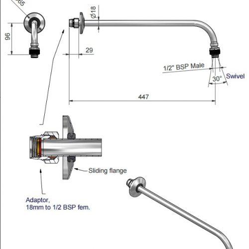 St James 18mm Shower Arm SJK418CPLR