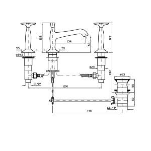 Zucchetti Bellagio 3 Hole Basin Mixer Tap ZB1425