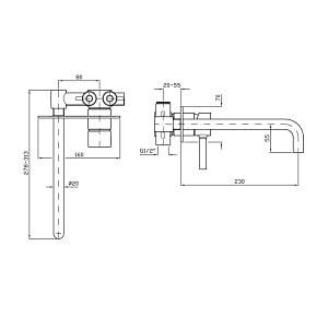 Zucchetti Pan Built In 2 Hole Basin Mixer ZP6124