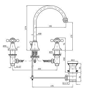 Zucchetti Agora Chrome 3 Hole Basin Mixer ZAG406