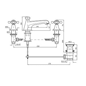 Zucchetti Agora Chrome 3 Hole Basin Mixer ZAG407