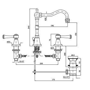 Zucchetti Agora Classic 3 Hole Basin Mixer ZAL405