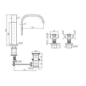 Zucchetti Aguablu 3H Basin Mixer With Spout ZA5742
