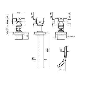 Zucchetti Aguablu 3H Wall Mounted Basin Mixer ZA5699