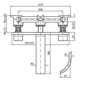 Zucchetti Aguablu 3H Wall Mounted Basin Mixer ZA5715