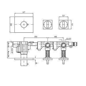 "Zucchetti Aguablu 3H 3/4"" Thermostatic Valve ZA5091"