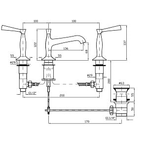 Zucchetti Bellagio 3 Hole Basin Mixer ZB2425