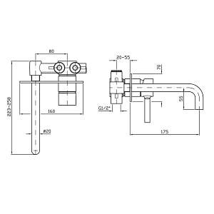 Zucchetti Pan 2H Wall Mounted Basin Mixer ZP6032