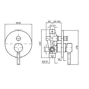 Zucchetti Pan Bath Shower Mixer With Diverter ZP6127