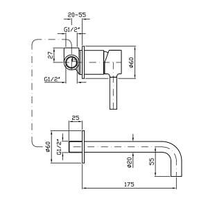 Zucchetti Pan 2H Wall Mounted Basin Mixer ZP6030
