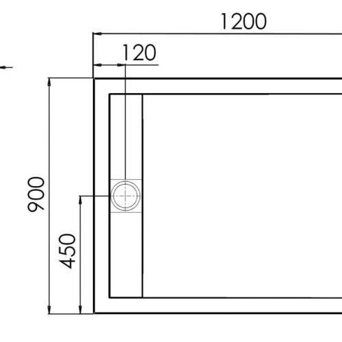 Roman Infinity shimmer black 1200mm x 900mm shower tray