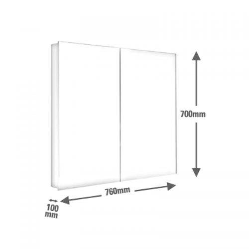 Saneux ICE 75cm bathroom wall mirror cabinet 1076