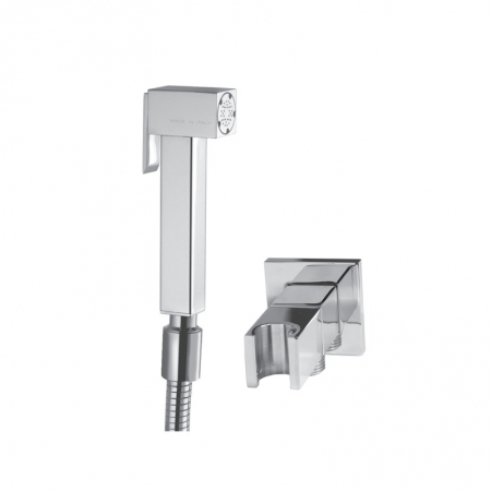 Square modern bidet douche & hose stopcock and bracket S1114