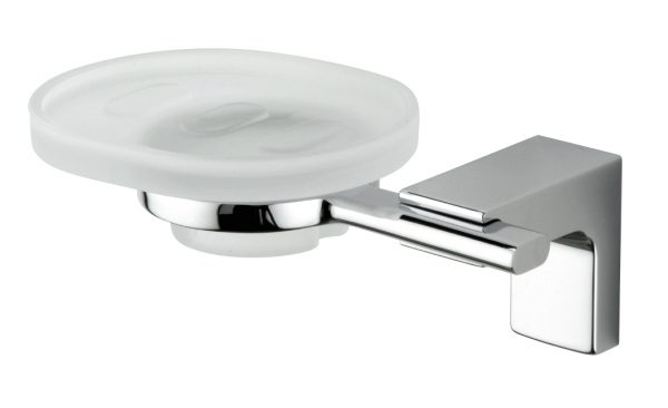 Sonia Eletech Soap Dish in Chrome & Frosted Glass 114078
