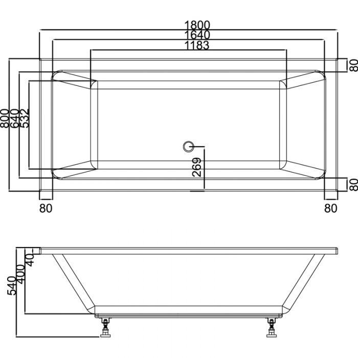 Saneux Stetson 1800 x 800mm double ended bath 20154