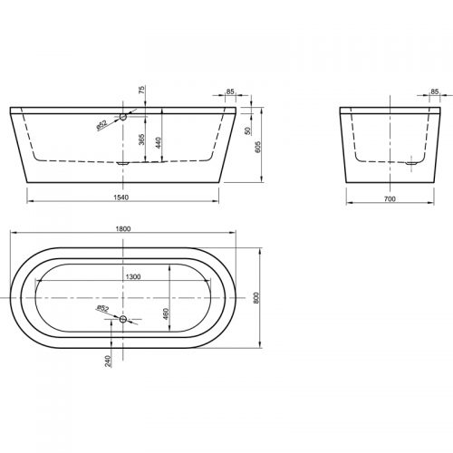 Saneux Ovale 1880 x 800mm oval free standing bath tub 21101