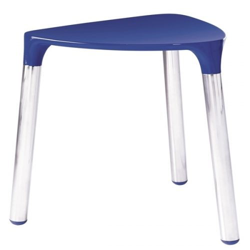 Gedy Yannis Bathroom Stool in Blue and Chrome 2172-05