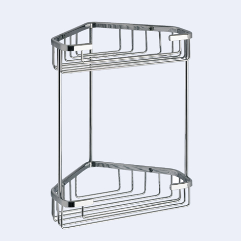 Gedy Chrome Double Corner Metal Shower Basket 2481-13-0