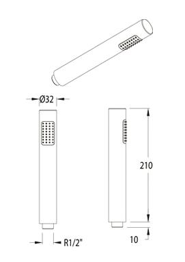 Ramon Soler Odisea Pencil Style Shower Handset 3713.0