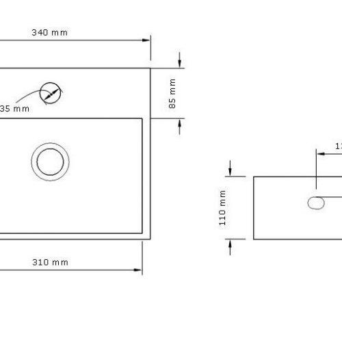 Saneux MATTEO Small Cloakroom Washbasin 33 x 28cm - 39008
