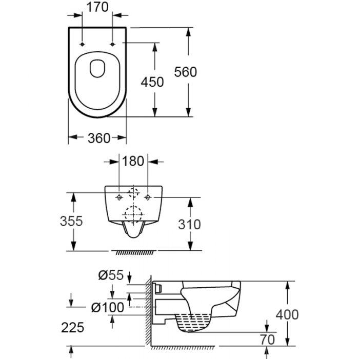Saneux AUSTEN/ UNI wall hung WC toilet pan ONLY 50076