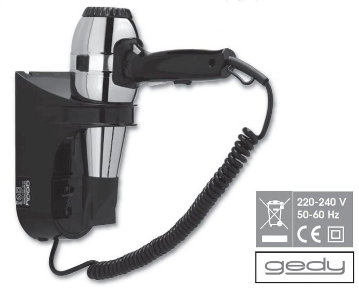 Gedy Grecale Hair Dryer with Shaver Socket Black 5054-43