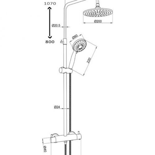Just Taps Plus Round Therm Bar Vlave+2 Outlets+R/Riser+Kit, HP 1 52819
