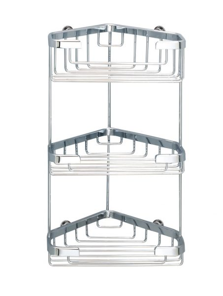 Gedy Triple Corner Basket In Chrome 55012