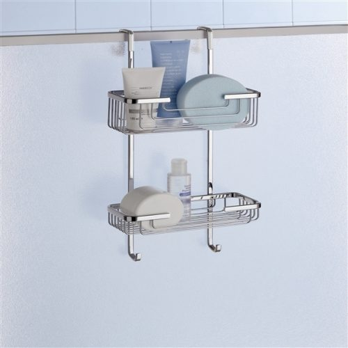 Gedy Double Hanging Shower Door Basket & Hooks 5683-13