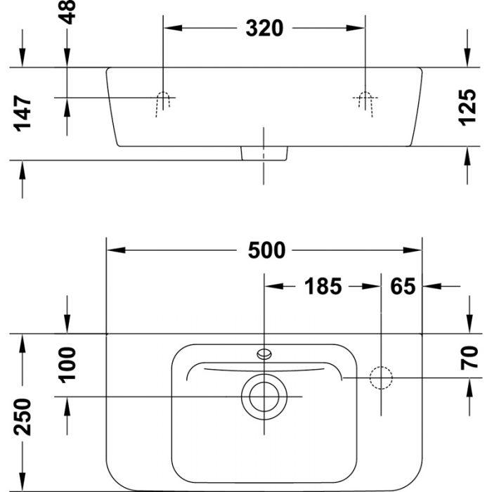 Saneux Project 50 x 25cm washbasin 60100