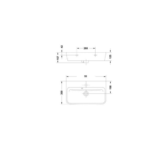 Saneux Project 55 x 35 Long Narrow Wash Basin 1TH 60111