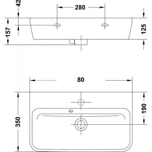Saneux Project 80 x 35cm Long Narrow Basin 60120