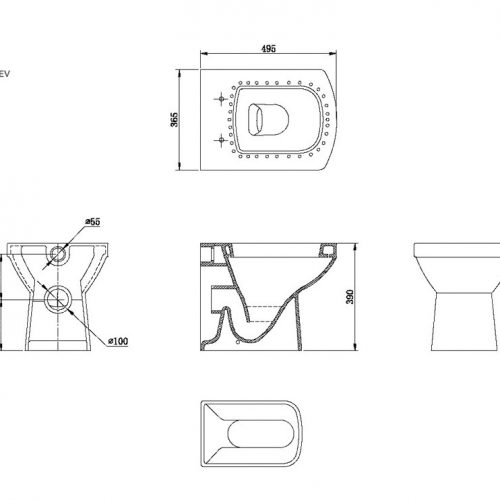 Saneux I-Line rimless back to wall toilet and soft close seat